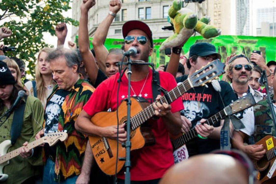 Tom Morello at Occupy Wall Street - Photo by Bryan Kremkau