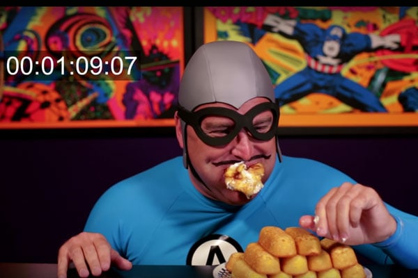 The Bat Commander tries to eat Twinkies