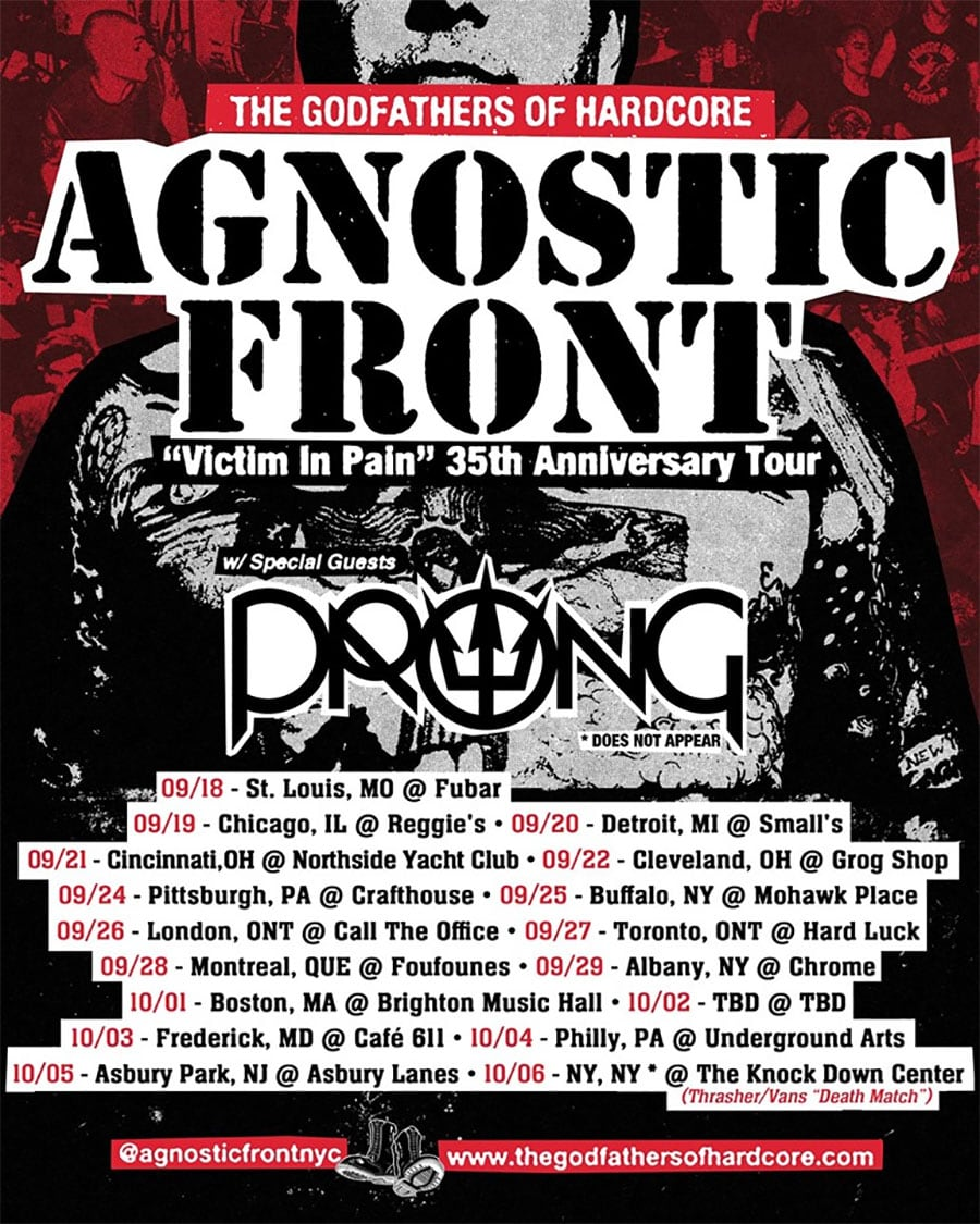Agnostic Front Announces 35th Anniversary Tour of 'Victim In Pain'