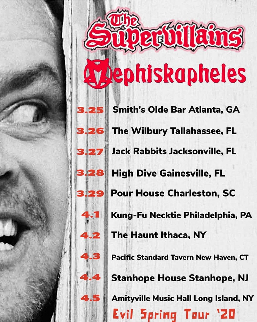The Supervillains and Mephiskapheles Announce Evil Spring Tour